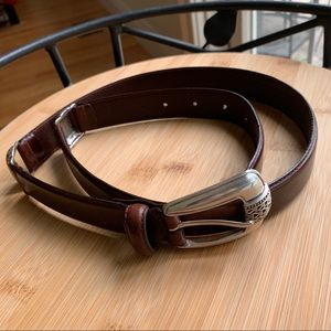 Fossil    Brown Leather Silver Buckle Belt Large
